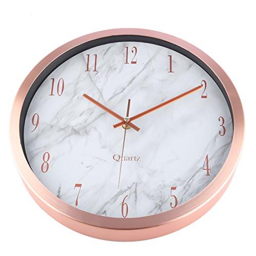 Marble Texture Wall Clock Foxom 12 Inch Modern Silent
