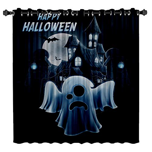 BMALL Blackout Curtains for Bedroom Room Darkening Thermal Insulated Curtains for Living Room Halloween Castles and Monsters Printed Energy Saving Drapes One Panel 52
