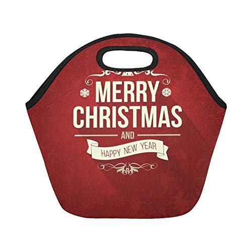 Insulated Neoprene Lunch Bag Vintage Retro Flat Style Trendy Merry Large Size Reusable Thermal Thick Lunch Tote Bags For Lunch Boxes For Outdoors,work, Office, School -