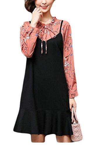 Jaycargogo Femmes Imprimé Floral Faux Chemise À Manches Longues 2 Pièces Un Doublé Volants Robe Ourlet Taille Plus Comme Image