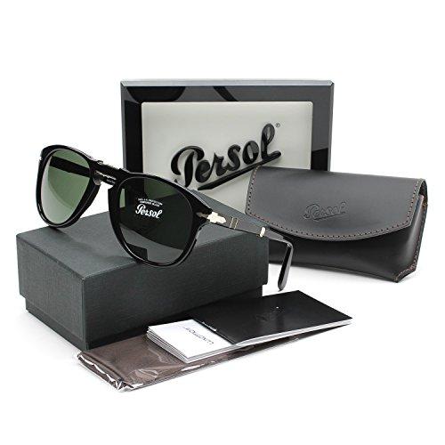 ac3e90ff80 Persol 0714 95 31 Gloss Black 0714 Aviator Sunglasses Lens Category 3 Size  Larg (B009QV9X6Q)