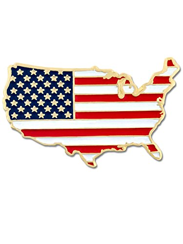 PinMart United States Outline American Flag Patriotic Enamel Lapel Pin