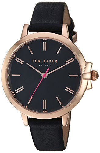 Ted Baker Women's 'Ruth' Quartz Stainless Steel and Leather Casual Watch, Color Black (Model: TE50267007)