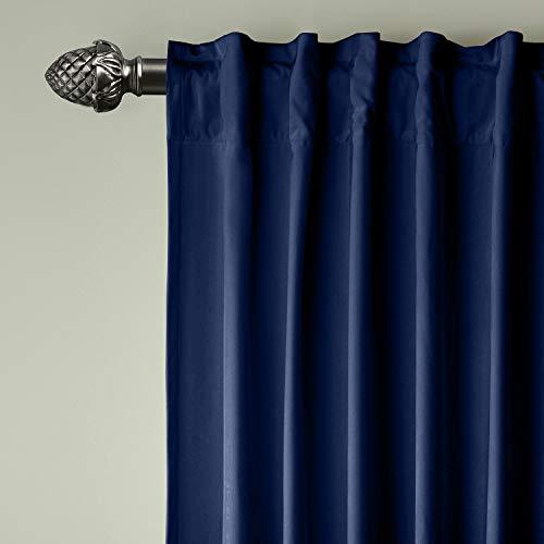 ChadMade Set of 2 Back Tab/Rod Pocket 2 in 1 Heading Matt Velvet Curtain Panel Drapery in Sapphire Blue 50