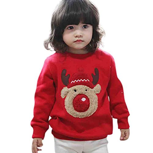 Baby Winter Tops,Hosamtel Toddler Unisex Red Long Sleeve Christmas Deer Sweatshirt (Red, 100)