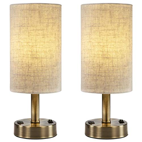 DEEPLITE USB Table Lamps for Bedroom, Bedside Nightstand Lamp with 2A Charging Port, Bronze Metal Base (Set of 2)