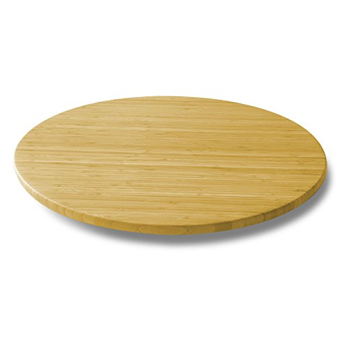 Heirloom Round Serving Plate - Noveltia 21-Inch Bamboo Lazy Susan Turntable Rotating Tray