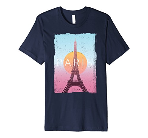 Mens Paris France Travel Poster Vintage Look T-Shirt Small Navy