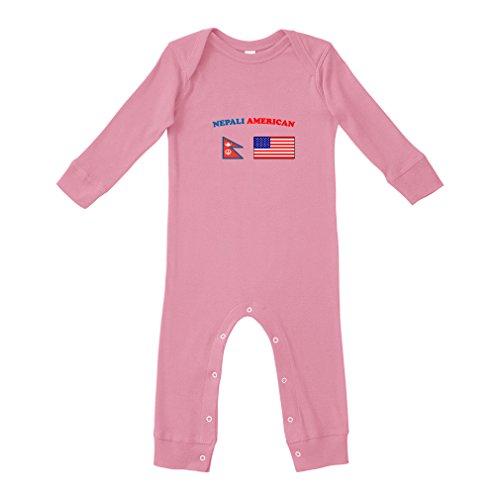 Nepali Cotton - Cute Rascals Nepali American Cotton Long Sleeve Envelope Neck Unisex Baby Legged Long Rib Coverall Bodysuit - Soft Pink, 6 Months