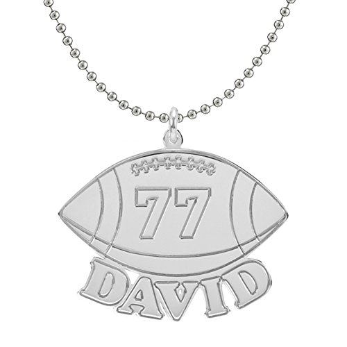 HACOOL Personalized 925 Sterling Silver Unisex Men Football Name Necklace Custom Made with Name & Number (Men:22 inch -