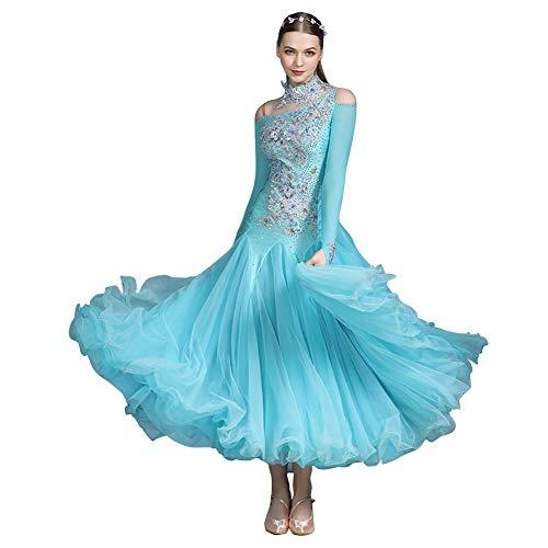 YUMEIREN Light Blue Luxurious Rhinestone Ballroom Dance