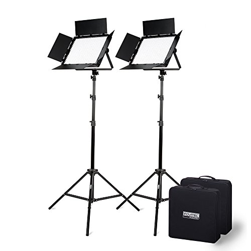 Fovitec - 1x Photography & Video Bi-Color 1200 XB LED Panel Kit w/Stands & Cases - [95+ CRI][Continuous Lighting][Stepless Knobs][V-Lock Compatible][3200-5600K]