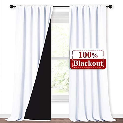 NICETOWN White 100% Truly Blackout Curtains, Rod Pocket Super Heavy-Duty Black Lined Total Darkness Drapes for Hall Room, Privacy Assured Window Treatment for Patio (Pack of 2, 52