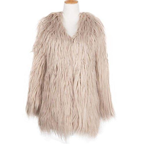Faux Ladies Women Coat Khaki Fur Parka Winter Warm Fox Bluester Outerwear Jacket Overcoat qIxw5dn