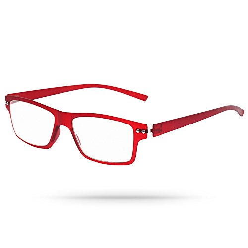 Ultra-flexible Angular Slim Frame Unisex Reading Eyeglasses in Matte Ruby Red - In Dartmouth Mall Stores