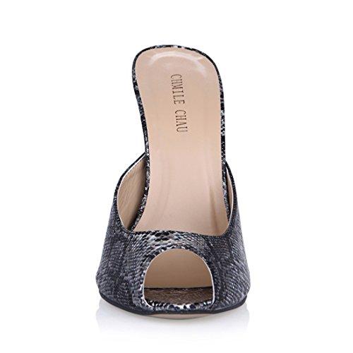 Tacco Metallo Sandali a Peep da Donna Toe Sexy CHAU Partito CHMILE Tacco Alto a nero Scarpe Moda Spillo Serpiente IPw0aq