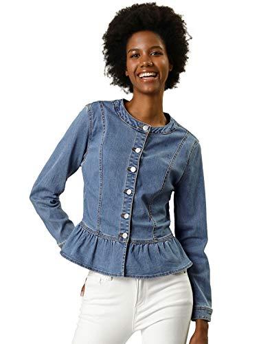 (Allegra K Women's Peplum Button Down Cropped Ruffle Hem Denim Jackets Light Blue XL)