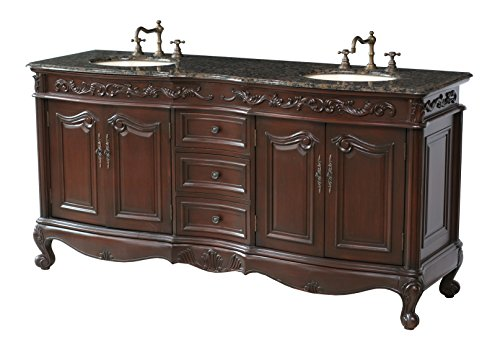 Baltic Brown Granite (Stufurhome GM-3323-72-BB 72-Inch Saturn Double Vanity in Dark Cherry Finish with Granite Top in Baltic Brown with White Undermount Sinks)