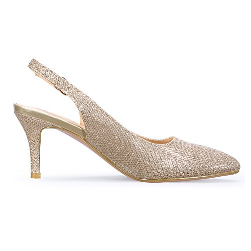 Dress Women's In3 Pointed Mid Glitter Idifu Heel Gold Slingback Toe Pump qA0ag