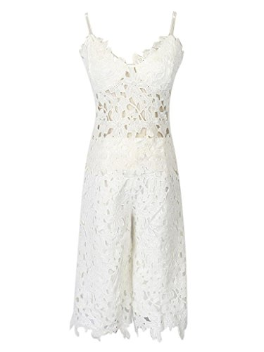 Choies Womens Crocheted Strapless Jumpsuit
