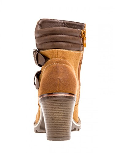 CASPAR Fashion Botas Para Mujer Marrón Beige Camel fWeMLdpfW