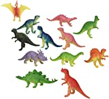 12 Mini Dinosaur Figures Hard Plastic- 2'-3' - Colors May Vary