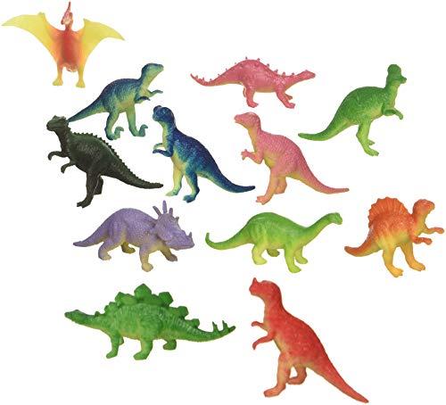"""12 Mini Dinosaur Figures Hard Plastic- 2""""-3"""" - Colors May Vary"""