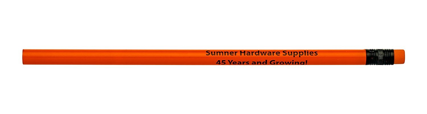 Pencil Guy Promotional Personalized Imprinted Neon Round Pencils- 500 per Box Red