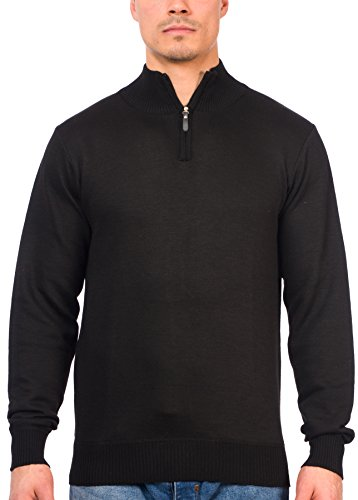 TR Fashion Men's Long Sleeve Soft Stretch Half-Zip Casual Pullover Sweater (Black, Large)
