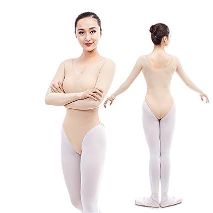 embiofuels (TM) Mujer desnuda Ballet maillot ropa interior Manga Larga Color Sólido Ballet Training