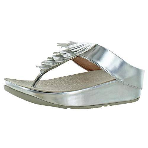 Beaded Loafers Flats Shoes - FitFlop Women's Cha Cha Beaded Leather Slip-on Sandals Shoes Silver Size 9