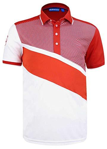 Cmax Diagonal Colour Block Golf Polo Shirt - Red - US XL (Non