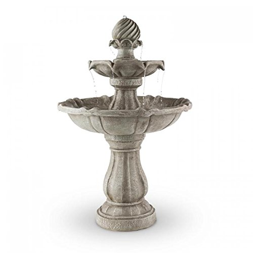 Blumfeldt Volterra • 2-Tier Outdoor Solar Powered Garden Fountain • 3W Solar Panel • Polyresin • Grey