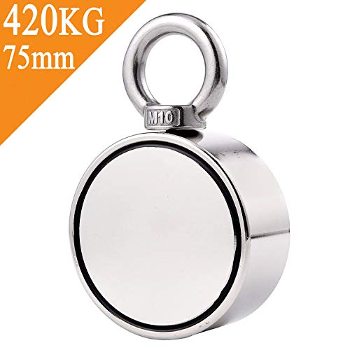 Uolor Double Side Round Neodymium Fishing Magnet, Combined 420KG Pulling Force Super Strong Neodymium Magnet with Eyebolt for Magnet Fishing and Retrieving in River - 75mm Diameter