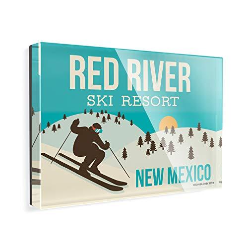 Acrylic Fridge Magnet Red River Ski Resort - New Mexico Ski Resort NEONBLOND