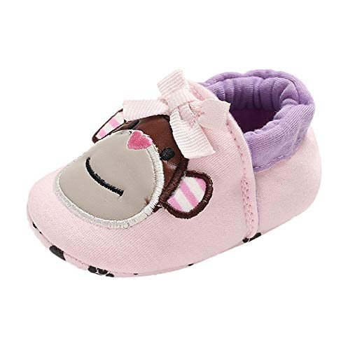 Baby Boys Girls Moccasins Suede Premium Soft Sole Infant Toddler Warm First Walker Shoes (Pink -8, Age:6~12 M)