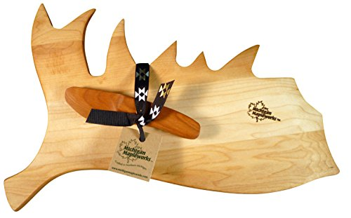 Moose Antler Shaped Gift Set Maple Cutting Board with Cherry Wood Spreader Michigan Mapleworks