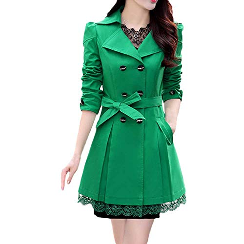 WOCACHI Womens Trench Coat Wool Blend Coats Bowknot Sashes Jacket Solid Outwear Winter Outerwear Warm Parka Cotton Padded Jackets Big (Green, Medium)