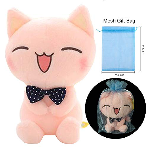 Topyi Soft Cat Plush Toy Pink Stuffed Animals Plush Doll with Blue Organza Gift Bag, Sitting Height 11