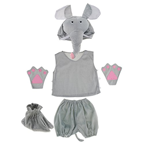 Prettyia Kids Animal Costume Set Giraffe Frog Cow Rabbit Bee Hat Top Shorts Gloves Shoes Party Halloween Dress up Unisex Outfit - Elephant by Prettyia
