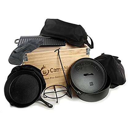 Image of CampMaid 11 Piece Cast Iron in a Wood Box Set