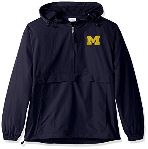 Champion NCAA Men's Half Zip Front Pocket Packable Jacket Michigan Wolverines Medium