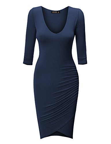 Come Together California CTC Womens Deep V Neck 3/4 Sleeve Tulip Bodycon Dress L Navy