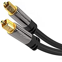 KabelDirekt Optical Digital Audio Cable (6 Feet) Home Theater Fiber Optic Toslink Male to Male Gold Plated Optical Cables Best For Playstation & Xbox - PRO Series
