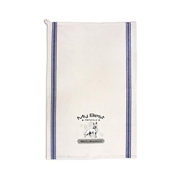 Custom Decor Kitchen Towels My Best Friend is White Shepherd Dog Pets Dogs Cleaning Supplies Dish Towels Blue Stripe Design Only 1