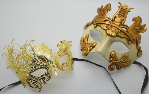 Roman Greek God Goddess Set - His & Hers Elegant Masquerade Masks Antique Gold