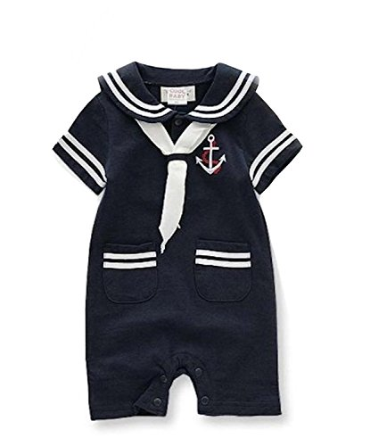 Infant Baby Toddler Anchor Sailor Stripe Romper Marine Navy Romper Onesie Outfit - Anchor Sailor