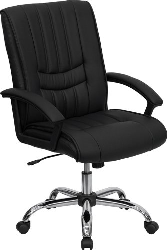 Flash Furniture Mid-Back Black Leather Swivel Manager's Chair with Arms