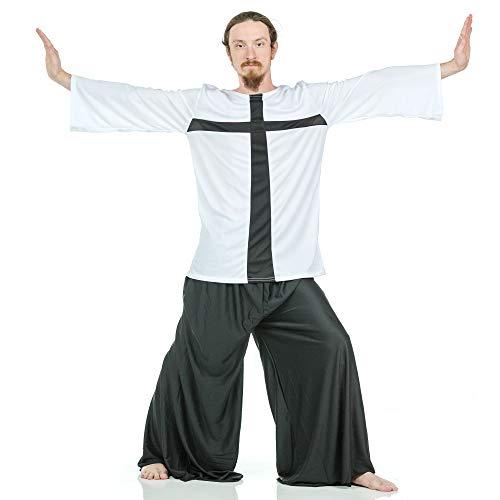 Dance Inspired Clothing (Danzcue Praise Cross Mens Inspired Tunic, White-Black,)