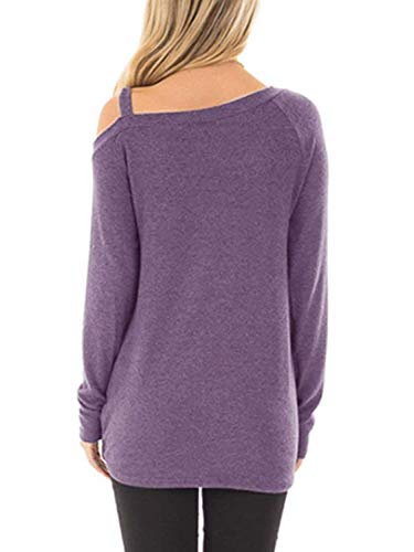 Famulily Women's Comfy Casual Long Sleeve Side Twist Knotted Tops Blouse